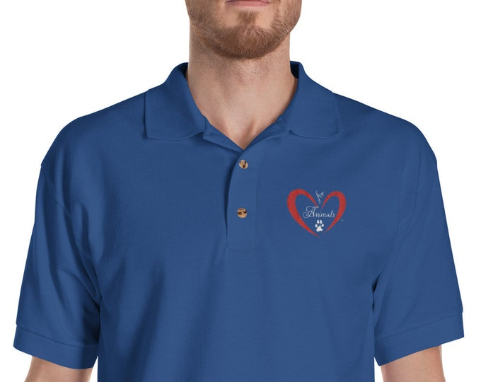 Heart of Love for Animals - Embroidered Polo Shirt