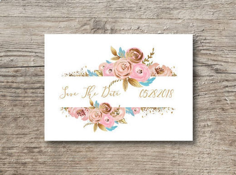 Gold and pink Save the date postcard Printed save the date postcard. Wedding save the date template Save the date postcard template