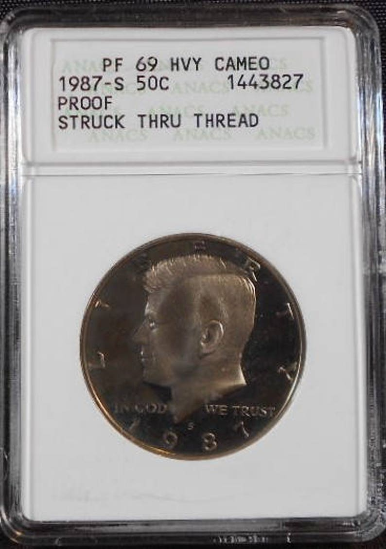 VERY RARE 1987-S Proof 69 Heavy Cameo Kennedy Half Dollar Mint Error Struck  Thru Thread, Mint Error, Proof, Error Coin, Heavy Cameo Proof