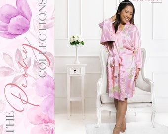 Personalized Satin Silk Floral Robes, Bridesmaid Robes, Wedding Gift, Bridal Party Robe, Bride Robe, Bridesmaid Gift, Floral Satin Robe