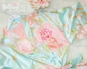 Personalized Satin Silk Pastel Floral Robes, Bridesmaid Robes, Wedding Gift, Bridal Party Robes, Bride Robe, Bridal Gifts, Satin Floral Robe