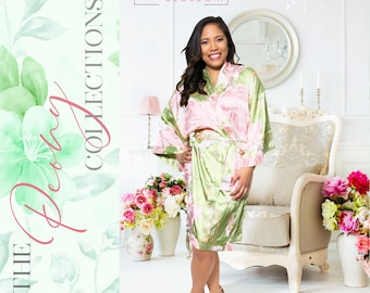 Personalized Satin Silk Floral Robes Bridesmaid Robes, Wedding Gift, Bridal Party Robes, Bride Robe, Bridesmaid Gifts, Bridal Floral Robe