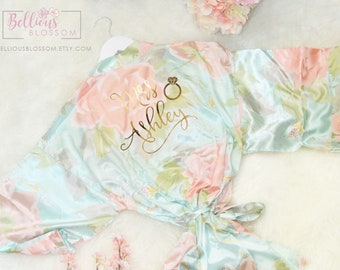 Personalized Satin Pastel Floral Robes Bridesmaid Robes, Silk Floral Robe, Bridal Party Robes, Robes, Bridesmaid Gifts, Floral Silk Robe