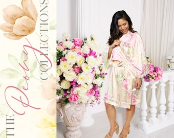 Personalized Satin Silk Floral Robes Bridesmaid Robes, Wedding Gift, Bridal Party Robe, Bride Robe, Bridesmaid Gift, Floral Bridesmaid Robe