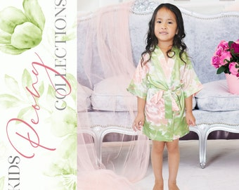 Personalized Silk Floral Robes, Flower Girl Satin Robes, Wedding Gift, Bridal Party Robes, Bride Robe, Bridesmaid Gifts, Floral Satin Robe