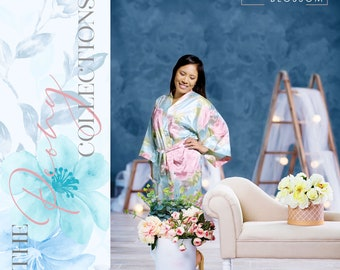 Personalized Silk Floral Robes, Bridesmaid Satin Robes, Wedding Gift, Bridal Party Robes, Bride Robe, Bridesmaid Gifts, Floral Satin Robe