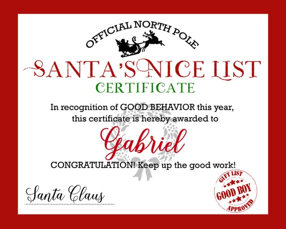 Santa Nice List Certificate Letter From Christmas