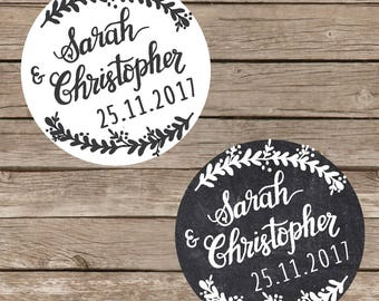 Custom COUPLE NAMES wedding stickers- Printable, Wedding Names Wedding Favors, engagement, Chalkboard, rustic, save the date, wedding labels