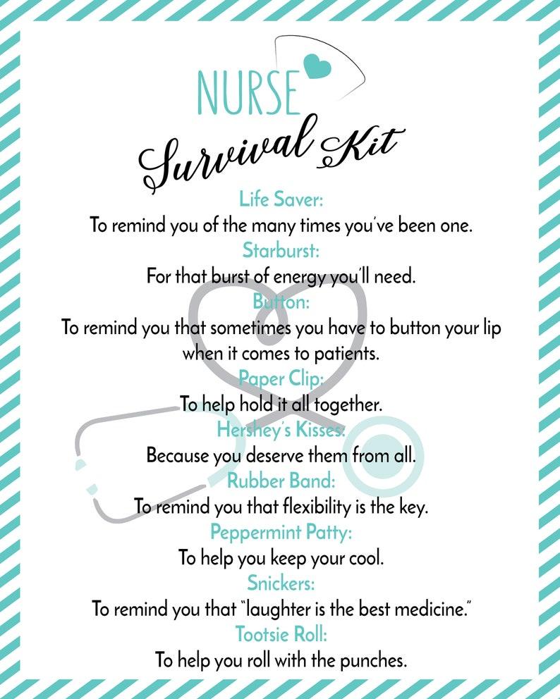 photo relating to Printable Nurses Week Games known as PRINTABLE Nurse Survival Package -Nurse Appreciation-nurse reward, reward for nurse, registered nurse, nursing,thank your self nurse, nurse printable