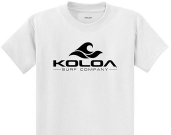 c9077b1f6 Koloa Surf Co Classic Wave Heavyweight 100% Cotton Men's T Shirt,  White/black Wave - Reg, Big and Tall sizes