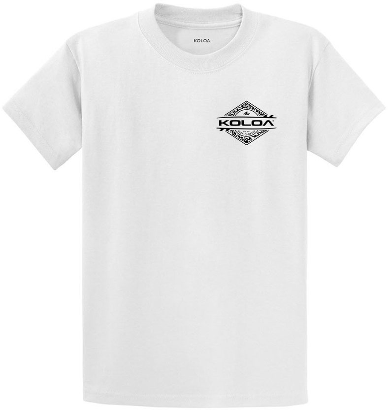 0e4ebf6ea Koloa Surf Co Heavyweight 100% Cotton Men's T Shirt White/black Diamond  Thruster - Reg, Big and Tall sizes