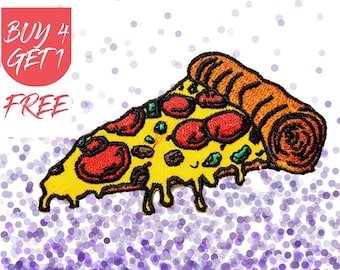 Cute Patches Pizza Patch Iron On Patch Embroidered Patch Pepperoni Pizza Slice