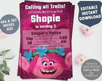 Instant Download-Trolls Birthday Invitation,Trolls invitation,Trolls Digital Invitation,Trolls Party,Trolls poppy,Trolls,Trolls invitations