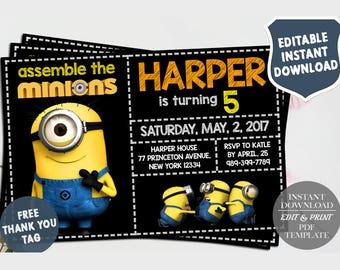 minion editable birthday invitation template diy printable etsy