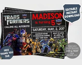 Transformers InvitationTransformers Birthday Invitation BirthdayTransformers Printable Transformer