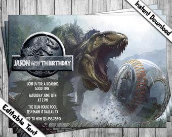 Jurassic World Invitation Birthday Dinosaur Park