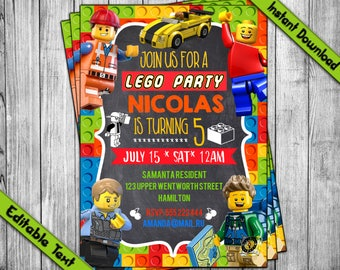 INSTANT DOWNLOAD Lego Invitation Birthday Party Boy Girl