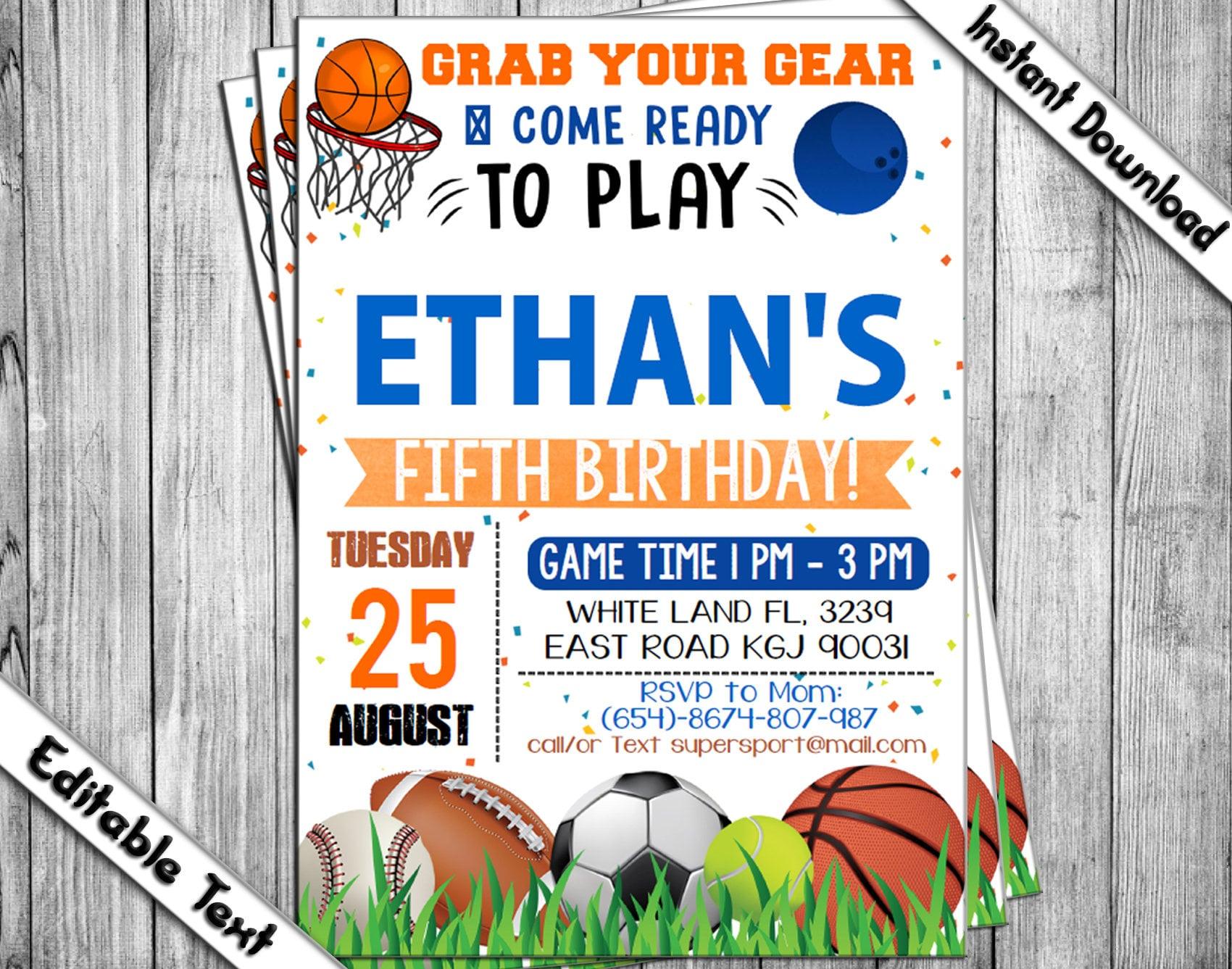 Sports Birthday Invitation Sports Invitation Ball Birthday | Etsy