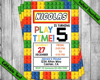 INSTANT DOWNLOAD_Colored Building Blocks Birthday Invitation, Construction Bricks Invitation, Boys Birthday Party,Building Blocks Invitation