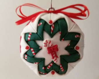 Green, White & Red folded fabric handmade ornament with candy cane decoration