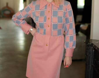 Vintage 1970's orange and blue checkered dress.
