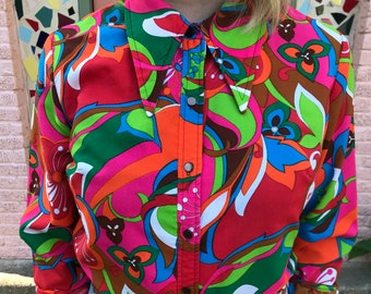 f8053513ec9e0 Vintage 1970's psychedelic button up blouse w/ disco collar.