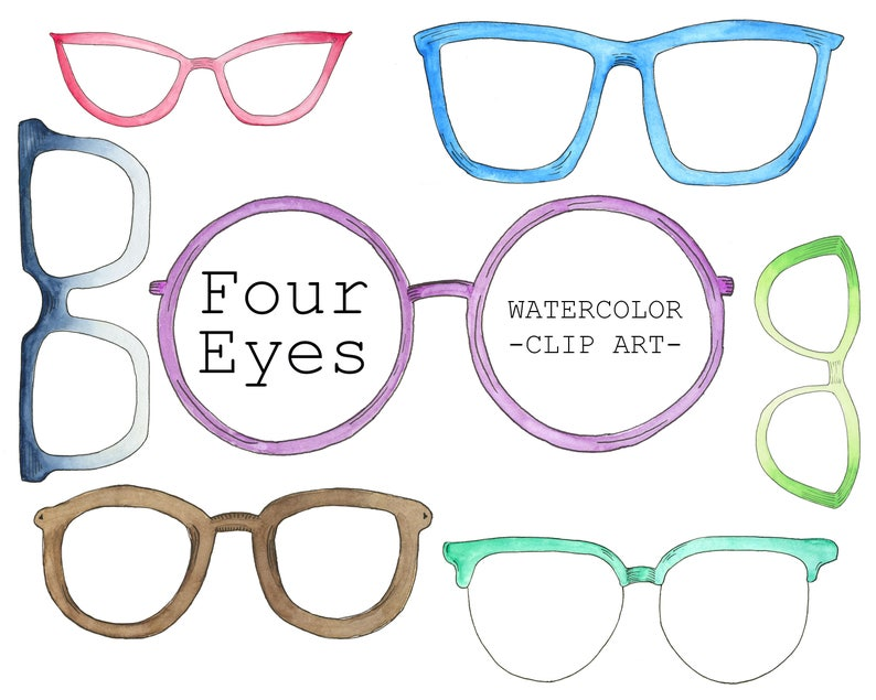 334309f57cc Glasses Clipart Nerdy Clipart Watercolor Clipart | Etsy