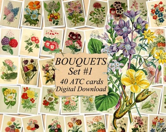 digital collage sheet 40 ATC cards Printable Instant Download Image Digital Cards Tags vintage image flowers journals DAHLIA Set #2