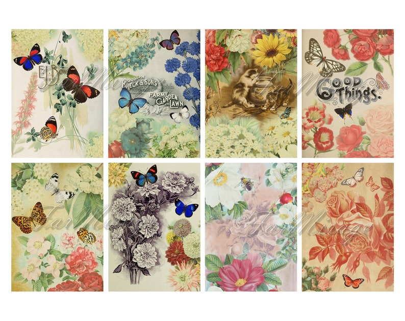 BUTTERFLY MIRAGE digital collage sheet Printable Instant Download Image atc Butterfly Digital Cards Tags aceo flowers plants vintage image