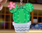 Prickly Mickey Acrylic Charm Keychain Disney floral cactus accessory Succulent Lanyard backpack Purse Charm Gift for her