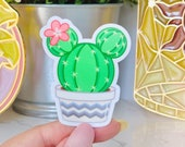 Prickly Mickey Cactus Sticker Mickey-shaped Succulent Disney Laptop Stickers Disney floral Vinyl Decals boho summer indie floral ears