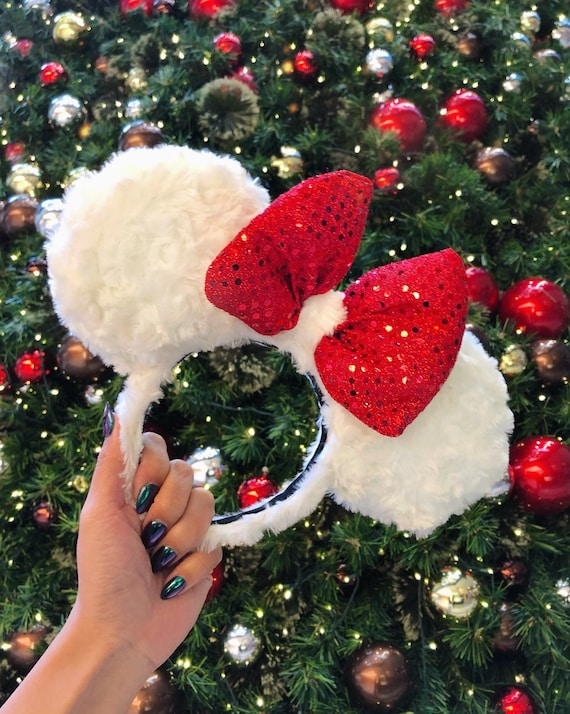 Disney Parks Interchangeable Ears Light Up Minnie Mouse Red Ears Bow