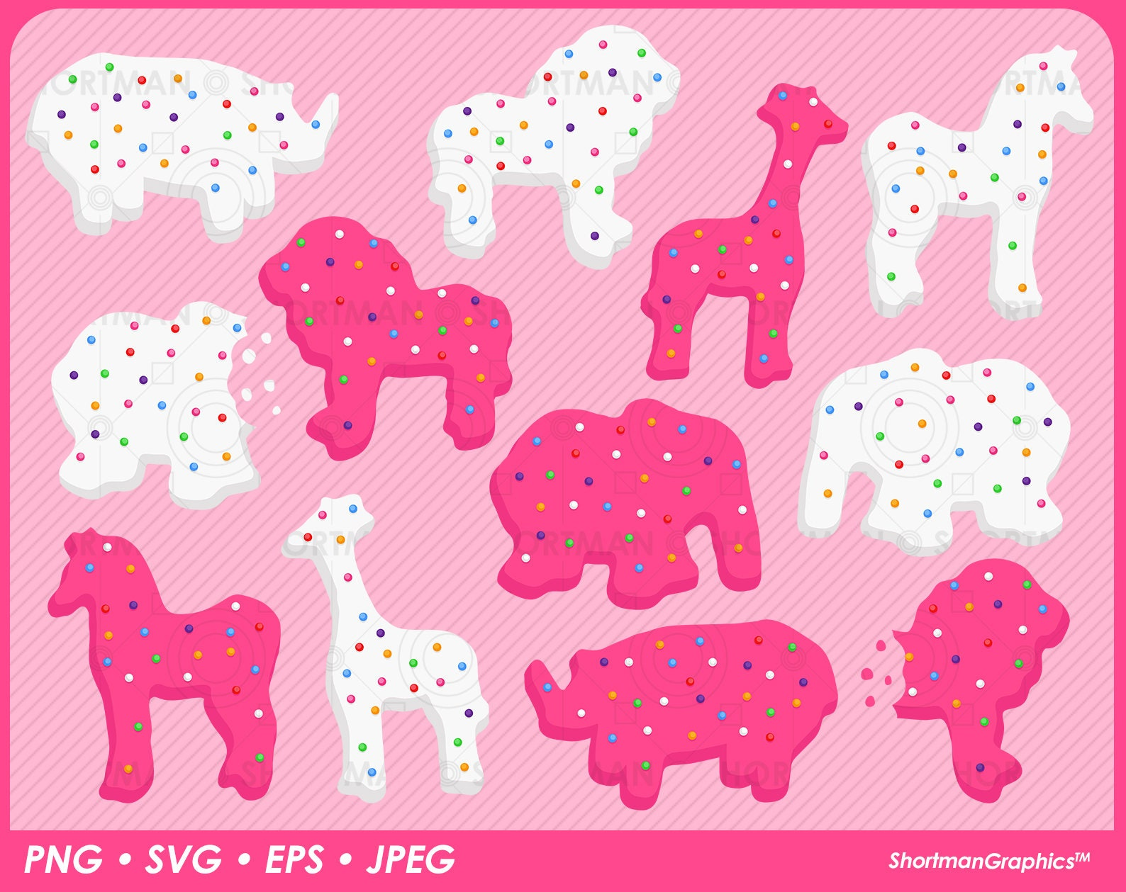 Circus Animal Crackers Clipart Animal Cookies Svg Png Etsy