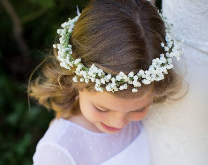 Babies Breath Flower Crown Made with Real Fresh Baby's Breath Flowers / Flower Girl Dry Baby Breath Floral Halo / Rustic Crown / Best Seller