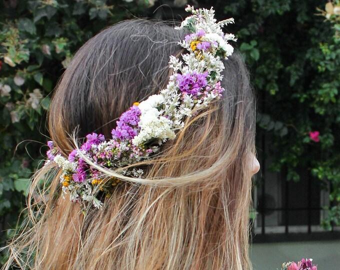 Dried Flower Crown / Purple Bohemian Floral Crown / Dried Flowers Halo Circlet / Colorful Wedding Ivory Hair vine / Bridal Rustic Crown