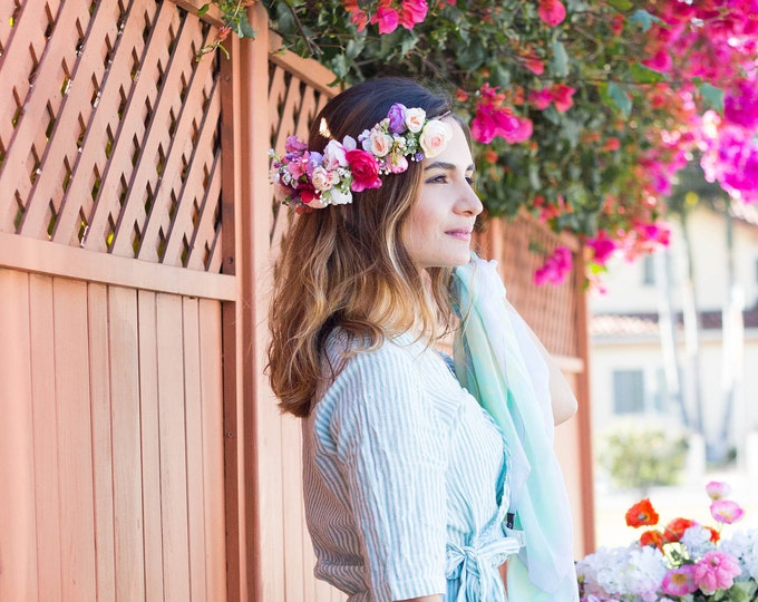 Colorful Spring Flower Crown / Half Greenery Tropical Rainbow Flowers / Garden Flowers Headpiece / Colorful Flower girl Head Crown