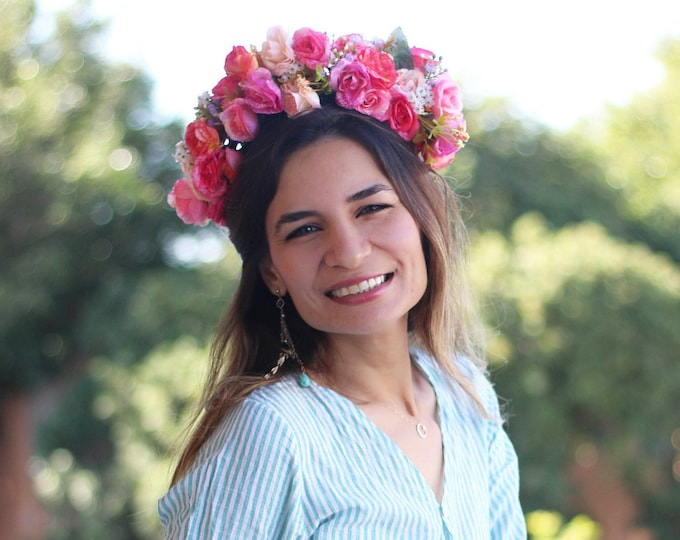 Blush Flower Crown /  Floral Crown / Pink Wedding Crown / Blush Flower Comb / Photo props Spring Wreath / Bohemian Accessory