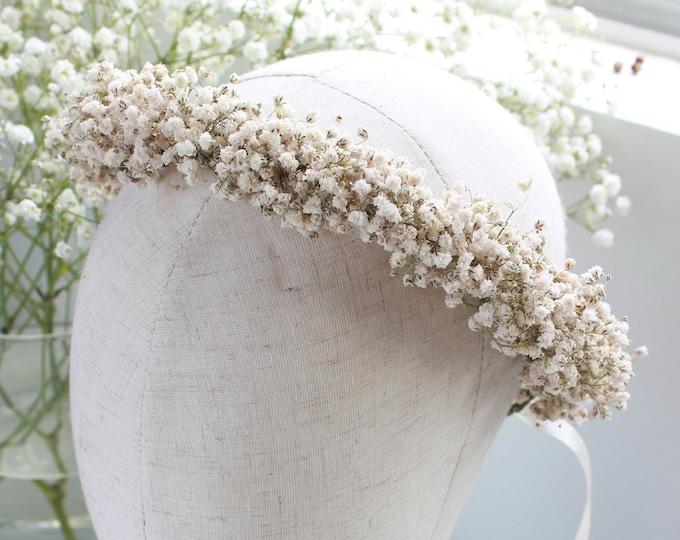 Dry Babies Breath Flower Crown / Dried Baby's Breath Floral Halo / Photo props Rustic Crown / Greenery wedding crown / Best Seller