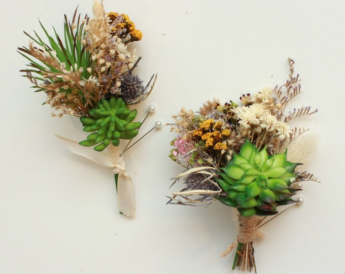 Set of 2 Assorted Succulent Boutonnieres made with Thistle, Babies breath flowers / Rustic dried flowers mini bouquet buttonhole