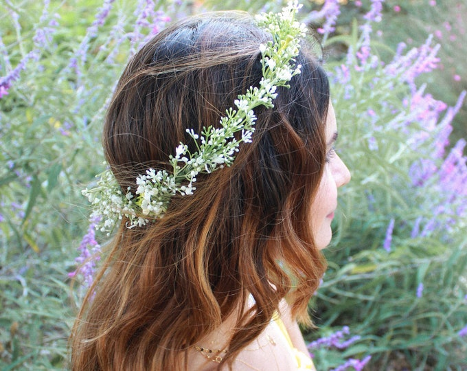 Flower Crown Wedding / Baby's breath and greenery all around crown / White berries Bridal Floral Crown / Green Hair Wreath / Ivory Headpiece