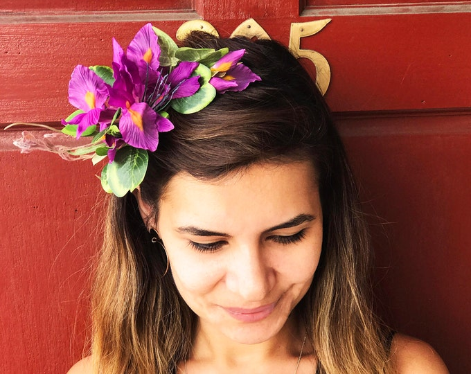 Orchids Flower Headband // Purple Floral Headpiece // Spring Natural Silk Floral headpiece / Lili Collection