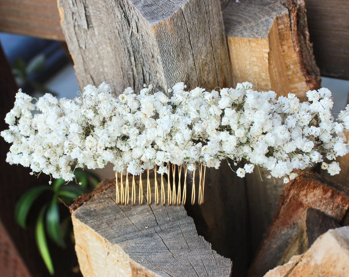 Dried Babies Breath Flowers Comb / Dainty Wedding Floral Comb / Bridal Hair Accessory / Dried Babies Breath Comb / Baby's breath hair pin