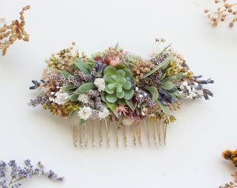 Succulent Comb / Dry Hair Comb / Blush Lavender Babies breath flowers hair pin /Bridal Hair Accessory /Dried Flowers Comb /Natural headpiece