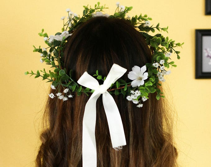 Babies Breath Greenery Flower Crown /  Green and White Headpiece / Flower Crown Wedding / Wedding Crown / Brides Flower Hair Accessory