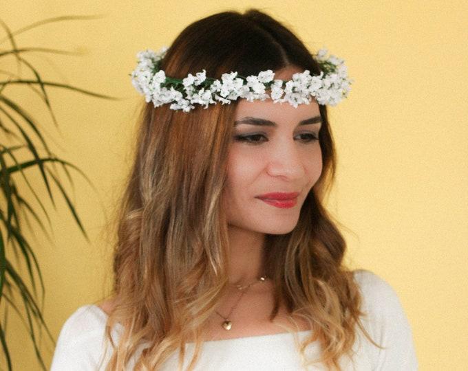 Thin Babies Breath Flower Crown /  Green and White Headpiece / Flower Crown Wedding / Rustic Farm Wedding Crown / Flower Hair Accessory