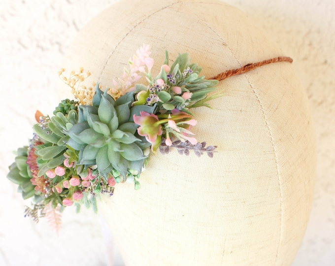 Succulent Flower Crown / Bridal Floral Half Crown / Side Rustic Flower Headband / Greenery Bohemian Headpiece / Circlet Halo Design