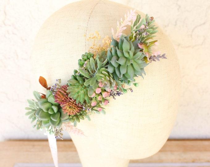 Succulent Flower Crown / Bridal Floral Half Crown / Side Rustic Flower Headband / Greenery Bohemian Headpiece / Circlet Halo Design