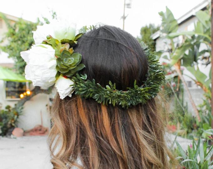 Greenery Wedding Crown / Ivory Floral Crown / Succulent Wedding Statement Headpiece / Peony Bridal Crown / Green Halo Wreath / Hair Vine
