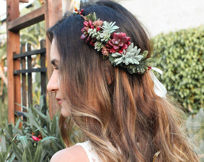 Burgundy Succulent Flower Crown / Bridal Floral Half Crown / Side Flower Headband / Greenery Bohemian Headpiece / Circlet Design