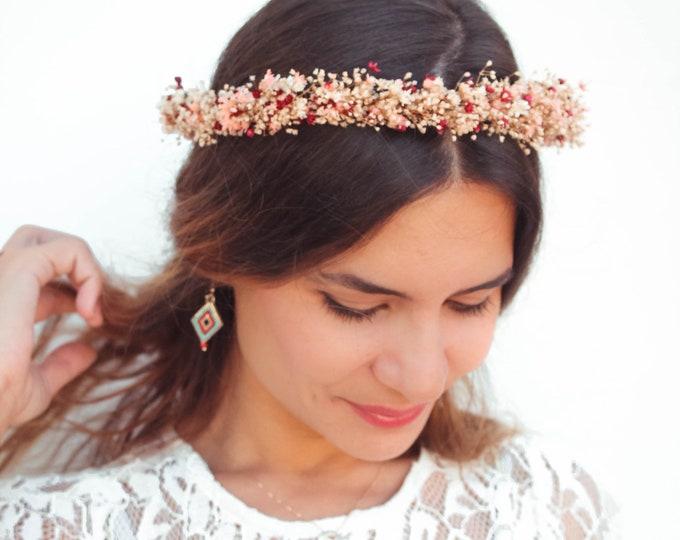 Burgundy Dried Flowers Crown, Bohemian Thin Floral Crown, Dried Flowers Vintage Halo Circlet, Bordeaux Rustic Crown, Mid century boho look
